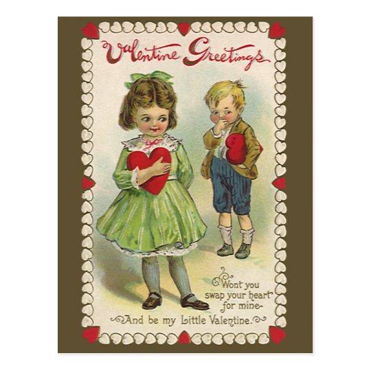 Vintage Victorian Valentine's Day, Shy Children Postcard