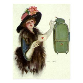 Vintage Victorian Valentines Day Woman Love Letter Postcard