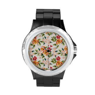 Vintage Victorian Watercolor Floral Pattern Watch