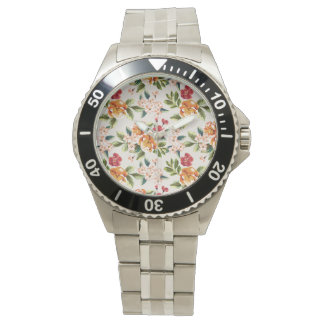 Vintage Victorian Watercolor Floral Pattern Wristwatches