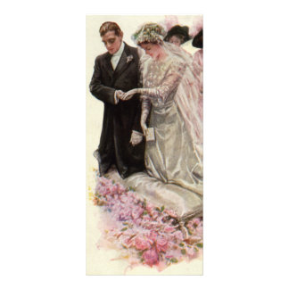 Vintage Victorian Wedding Ceremony, Bride Groom Custom Rack Card