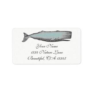 Vintage Victorian Whale Black, White Beach Address Label