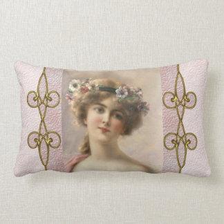 Vintage Victorian Woman with Art Nouveau Ornament Lumbar Pillow