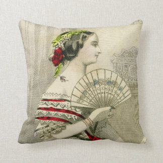 Vintage Victorian Woman with Fan Throw Pillow