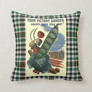 Vintage Victory Garden War Poster Throw Pillow