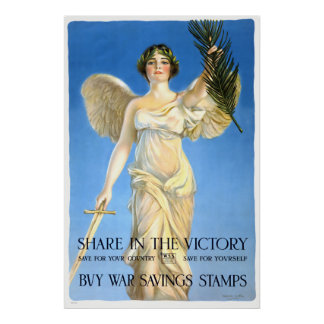 Vintage Victory War Savings Stamps Poster Print