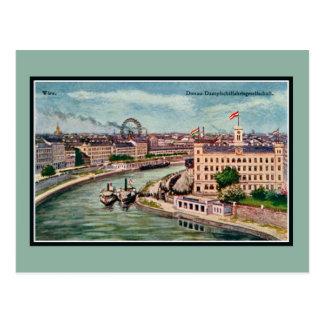 Vintage Vienna Austria Danube river art Postcard