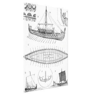 Vintage Viking Naval Ship History and Diagram Canvas Print