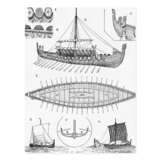 Vintage Viking Naval Ship History and Diagram Postcard