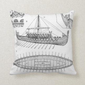 Vintage Viking Naval Ship History and Diagram Throw Pillow