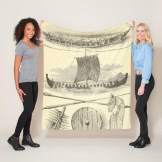 Vintage Vikings Artwork and Illustrations Fleece Blanket
