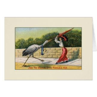 Vintage Villain Stork Whimsical New Baby Card