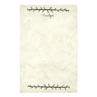 Vintage Vine Border Old Book Paper with Name