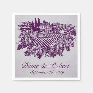 Vintage Vineyard Grapes Purple Reception Napkins Disposable Napkins