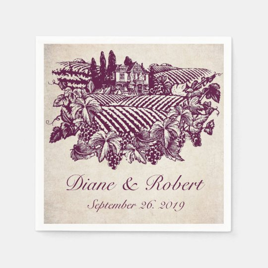 Vintage Vineyard Winery Burgundy Custom Wedding Disposable Napkins