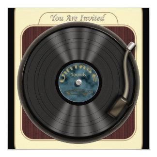 "Vintage Vinyl Record Party Invitations 5.25"" Square Invitation Card"
