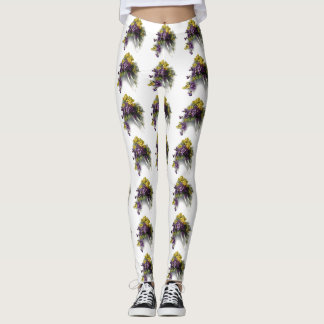 Vintage Violet Bouquet Leggings