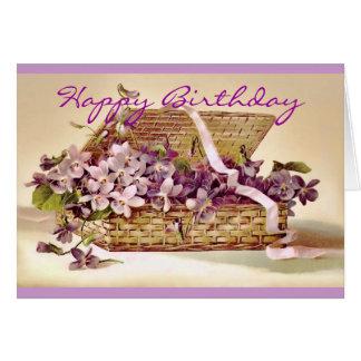 Vintage Violet Flowers in a Basket Birthday Card