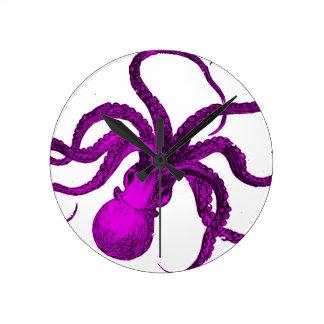 Vintage Violet Octopus Design Round Clock