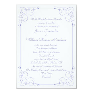 Vintage Violet Scrollwork Frame Wedding Invitation