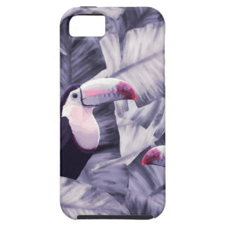 Vintage Violet Toucan Tropical Banana Leaves Case For The iPhone 5