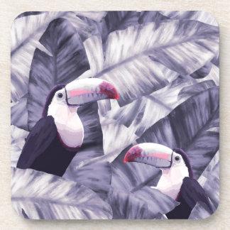 Vintage Violet Toucan Tropical Banana Leaves Coaster