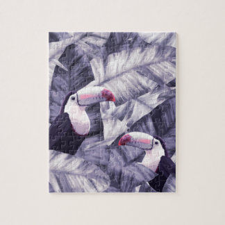 Vintage Violet Toucan Tropical Banana Leaves Jigsaw Puzzle
