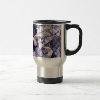 Vintage Violet Toucan Tropical Banana Leaves Travel Mug