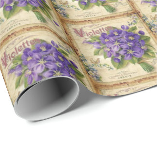 Vintage Violets pattern tiled party wrap Wrapping Paper