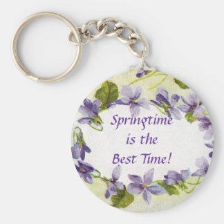 Vintage Violets Springtime Keychain