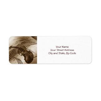 Vintage Violin and Sheet Music Return Address Label