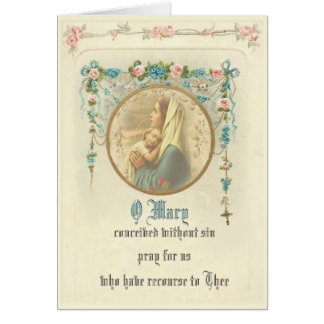 Vintage Virgin Mother Mary with Baby Jesus Card