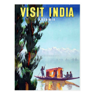 Vintage Visit India Kashmir Travel Postcard