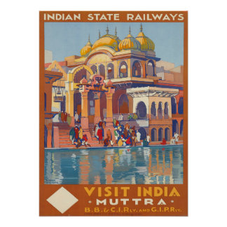 Vintage Visit India Muttra by Roger Broders Travel Poster
