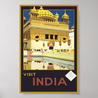 Vintage Visit India Travel Classic Poster Art