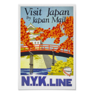 Vintage Visit Japan Travel Classic Poster
