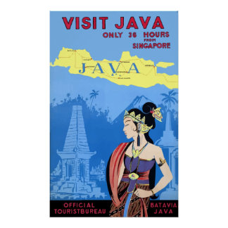 Vintage Visit Java Travel Poster