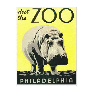 Vintage Visit the Zoo Philadelphia Hippo Canvas Print