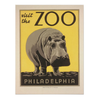 Vintage Visit the Zoo - Philadelphia Poster