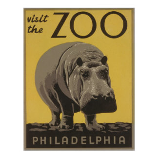 Vintage Visit The Zoo Philadelphia Poster