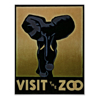 Vintage Visit The Zoo poster