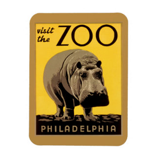 Vintage visit Zoo Philadelphia, hippopotamus Magnet