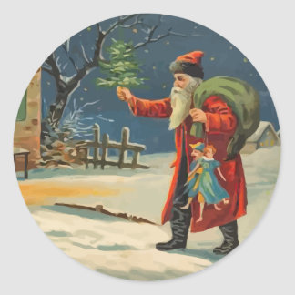Vintage Visiting Santa Claus Stickers