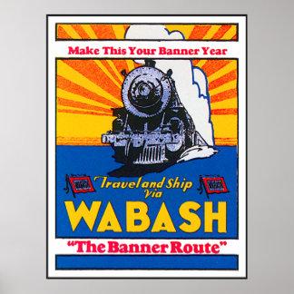 Vintage Wabash Train Ad Poster