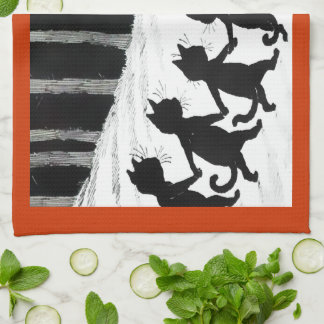 Vintage Wain Black Cat Moon Tea Towel