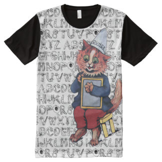 Vintage Wain Cat School Alphabet Art All-Over-Print T-Shirt