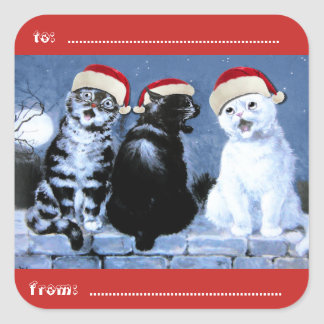 Vintage Wain Christmas Cats Choir Square Sticker