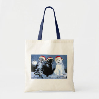 Vintage Wain Christmas Santa Cats Choir Tote Bag