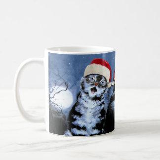 Vintage Wain Christmas Santa Hat Cats Choir Coffee Mug