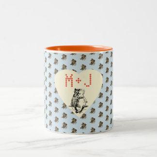 Vintage Wain Cupid Cat Couple Art Two-Tone Coffee Mug
